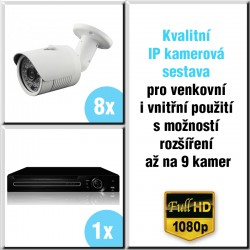 8x IP kamera 2 Mpix, HVR - kamerový systém