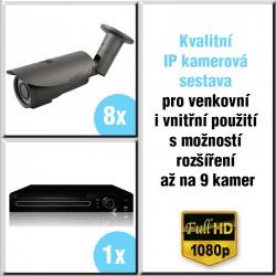8x IP kamera 2 Mpix, 2.8-12mm, HVR - kompletní kamerový systém