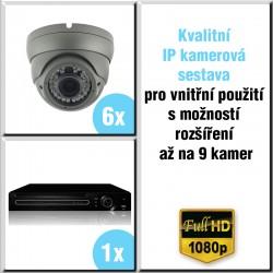 6x IP kamera 2 Mpix, 2.8-12mm, HVR - kompletní kamerový systém DOME