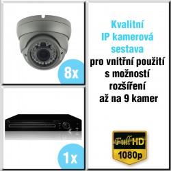 8x IP kamera 2 Mpix, 2.8-12mm, HVR - kompletní kamerový systém DOME