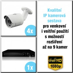 4x IP kamera 2 Mpix, HVR - kamerový systém